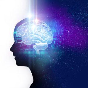 silhouette of virtual human and nebula cosmos 3d illustration , represent scientific concept and brain creativity.