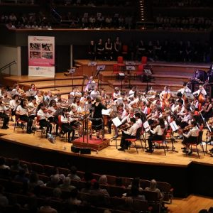 A picture of a Services For Education concert taking place with lots of children on a stage playing the strings instruments.