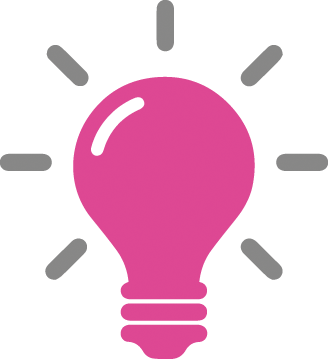 Lightbulb icon in pink and grey. Services for Education