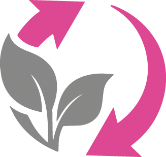 Icon of a plant and arrows in grey and pink, symbolising environmental impact.
