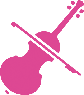 Cello icon in pink. Services For Education free instruments