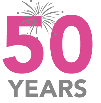 50 years in an icon, in pink. Music Service 50 Years - services for education music provision