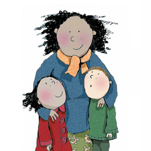 Cartoon of a mother and her two children, a boy and girl, looking up at her. Front cover of the RSE resource Clued Up For Growing Up