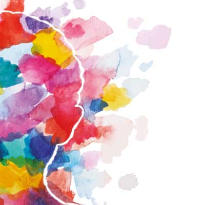 Artistic image of half a head with paint splodges across it. Representing a spectrum of mental health.
