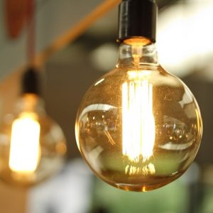 Close up picture of a large, quirky lightbulb
