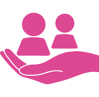 pink hand icon, holding two people