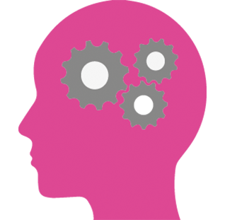 Icon of a pink head with some grey cogs in it.