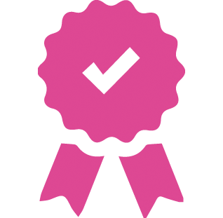 An icon of a pink rosette.