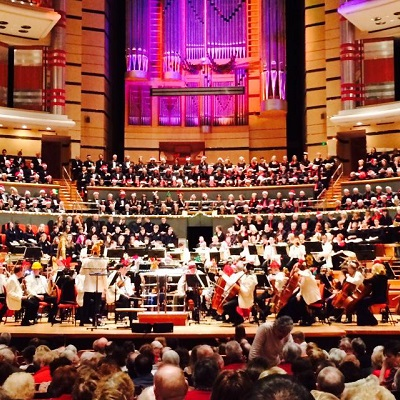 Picture of a music service concert in the symphony hall, put on by services for education