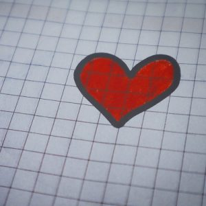 Picture of a heart drawn on graph paper. Symbolises relationships and health education.
