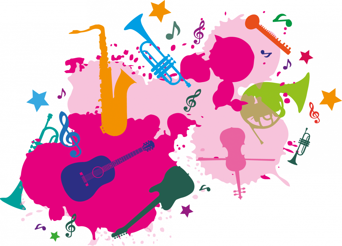 Splat shape with loads of icons within it of instruments, in pinks, greens, yellows and purples. Symbolising music service and provision at services for education.