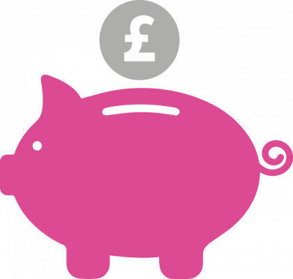 Piggy bank icon to symbolise fees for SCITT course.