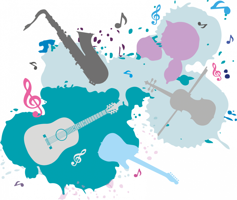 Splat shape with lots of icons within it of musical instruments, in greens, blues and pinks. Symbolising the SFE music school.