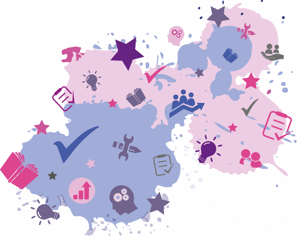Splat with lots of different icons on it in purples and pinks symbolising, Services For Education - School Support Service