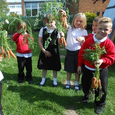 Picture of some children holding up vegetables they've grown as part of Health For Life
