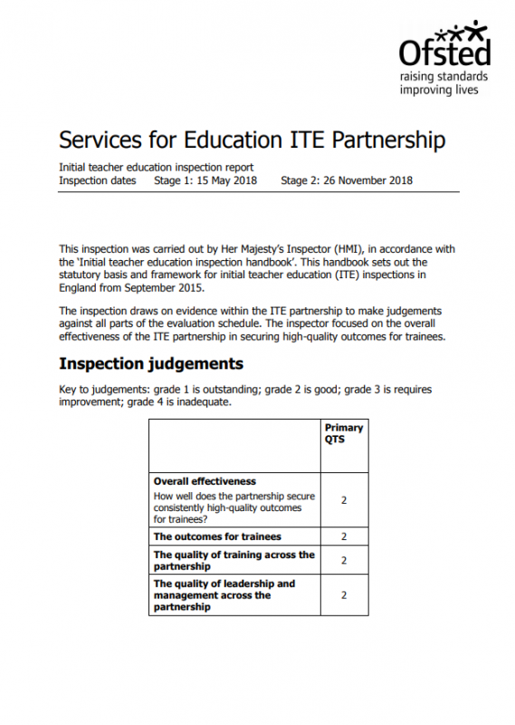 The front cover of the Ofsted Inspection, completed on 26 November 2018. This relates to Services For Education SCITT course