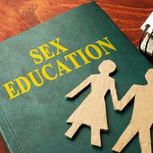"A book with cutout people on it, called ""Sex Education"""