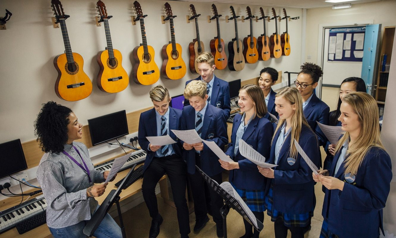 music class at a secondary school