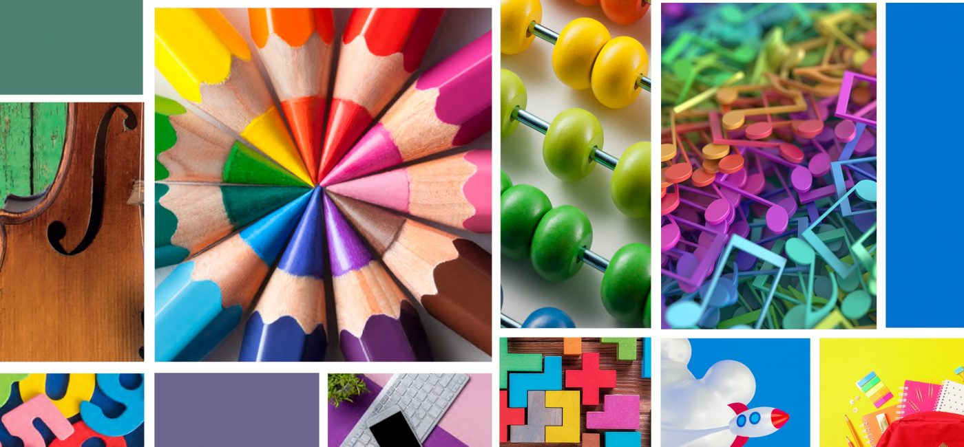 Collage of colourful images with pencils, school equipment, music notes and instruments